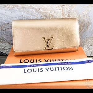 Louis Vuitton Louise EW Gold Shimmer LeatherClutch